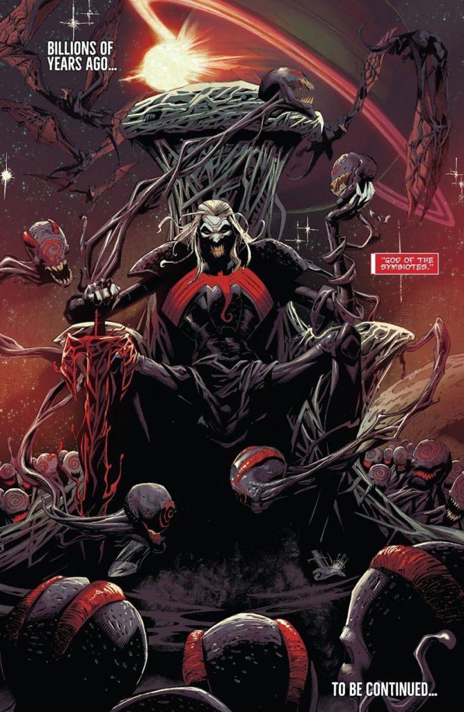 Knull, o Deus Simbionte, que também possui um símbolo semelhante ao do Venom no peito. Foto: Marvel Comics.